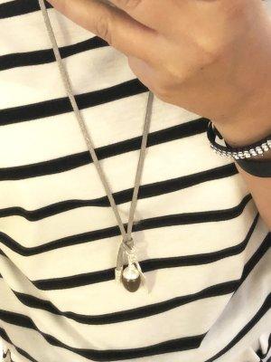 Halskette neu Silber grau Lederband Kette Schmuck