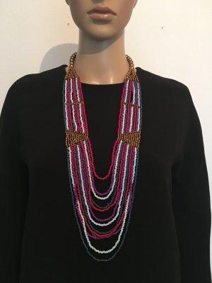 Halskette Perlenkette Glasperlen fuchsia Pink hellblau Bronze ethno mehrteilig cool Los Angeles boho  Artdeco Paris  blau