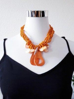 Shell Necklace gold orange-orange