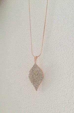 Halskette rosegold Blatt