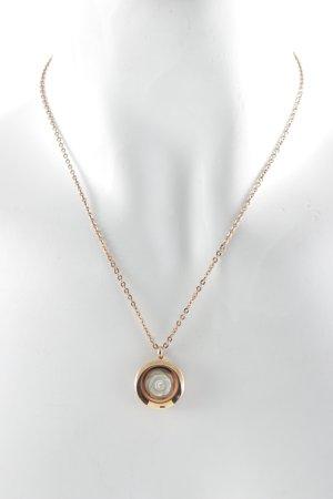 Halskette roségoldfarben-weiß florales Muster Business-Look