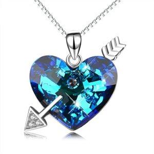 Halskette Royal blauem Herz 925 Sterling Silber