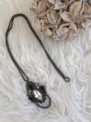 Halskette / schwarz-Silber