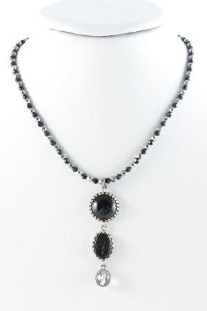 Collier noir-argenté imprimé aztèque