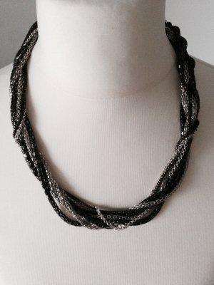 Halskette silber-schwarz neu blogger