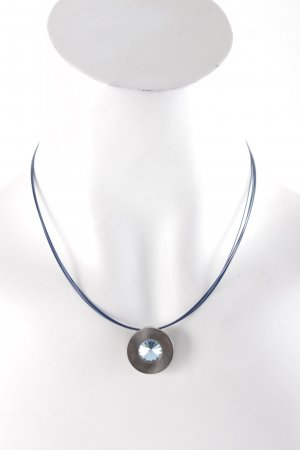 Necklace silver-colored-blue elegant