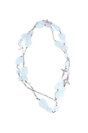 Halskette silberfarben-türkis II