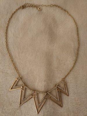 Halskette Statement Kette gold mit Glitzersteinen