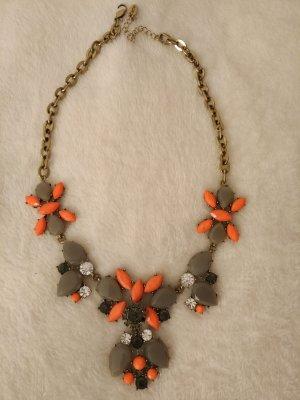 Halskette Statement Kette in gold ,orange/neonorange, grau, schwarz