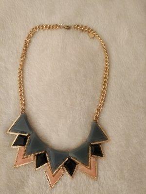 Halskette Statement Kette in gold, rosa, grau und schwarz