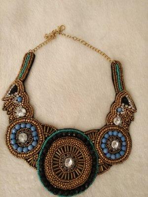 Halskette Statement Kette in gold ,türkis, blau, schwarz mit Perlen