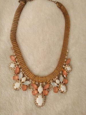 Halskette Statement Kette in gold ,weiß, apricot und mit Glitzersteinen