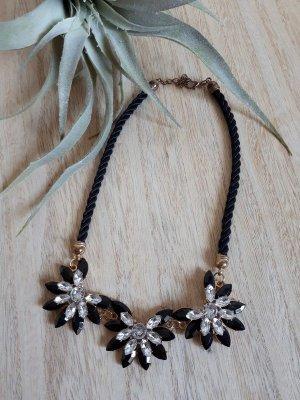 Halskette Statement Kristallblumen Kordel