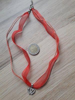 Halskette Trachtenhalskette mit Herzanhänger 925er Silber rot silber