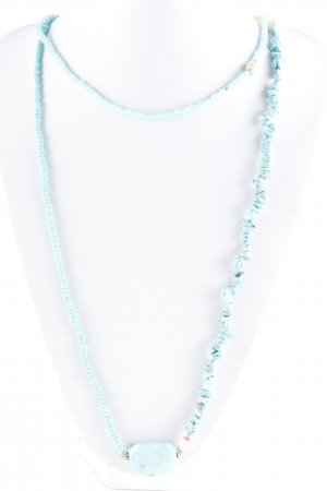 Necklace turquoise-pink hippie style