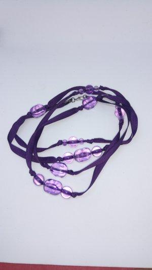 Statement Necklace dark violet-blue violet synthetic material