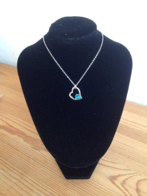 Halskette versilbert mit Herzanhänger und Kristall - Damen-Schmuck Liebe