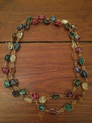 Halskette von Herbolzheimer in Gold mit verschiedenen Steinen Statement-Kette