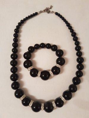 Halsketten-Armband-Set schwarz-silber