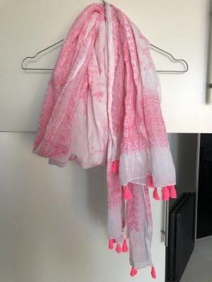 Foulard blanc-rose fluo