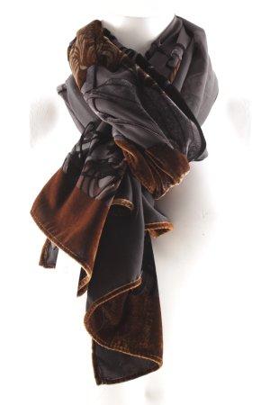 Halstuch dunkelblau-bronzefarben florales Muster Elegant