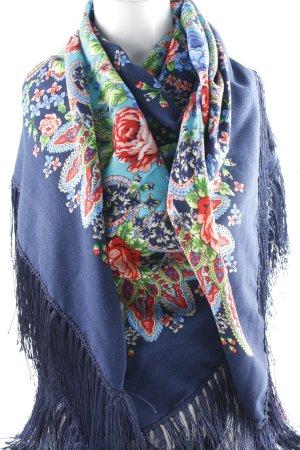 Pañoleta azul oscuro-turquesa estampado floral look Boho