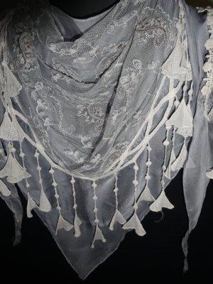 Pañoleta gris claro-blanco