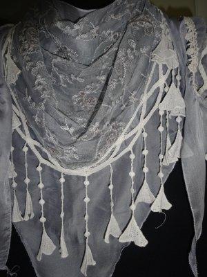 Fazzoletto da collo grigio chiaro-bianco