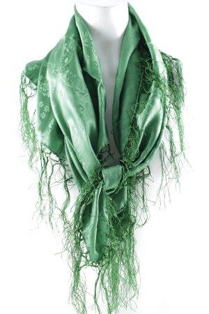 Pañoleta verde estampado floral Adorno de flecos