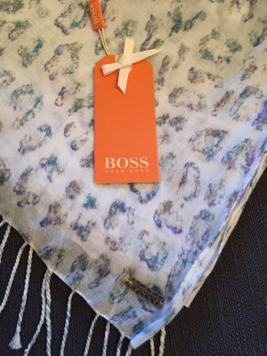 Halstuch Naleona Leoprint Boss Orange weiß Animal Print Schal Tuch