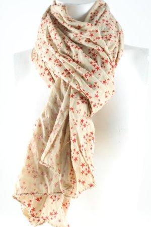 Pañoleta rojo-crema Patrón de estrellas look casual