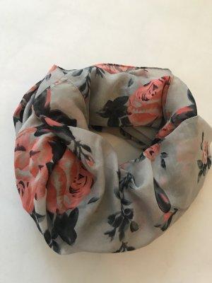 Halstuch / Rundhalsschal grau mit Rosen, herbstlich, Viskose *neuwertig*
