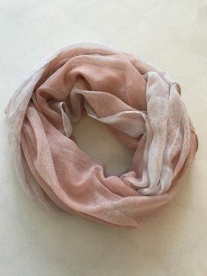 Halstuch / Rundhalsschal, rosa / weiß, Viskose *sehr gut*