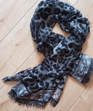Halstuch Schal Grau Leopard Tiermuster Groß