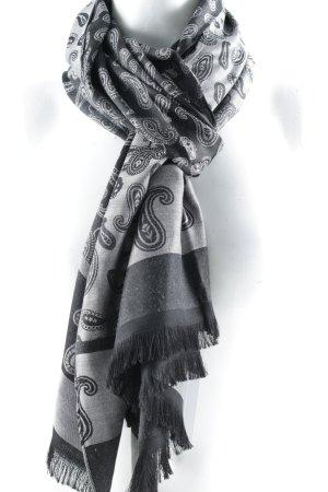 Pañoleta negro-gris claro estampado con diseño de cachemira look casual