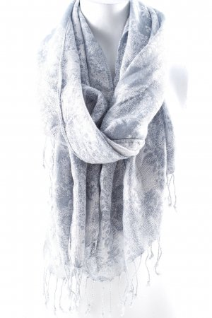 Halsdoek zilver-lichtblauw abstracte print casual uitstraling