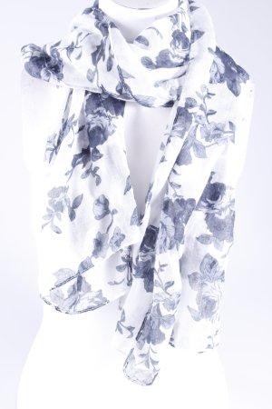 Halstuch weiß-schwarz mit Blumenprint
