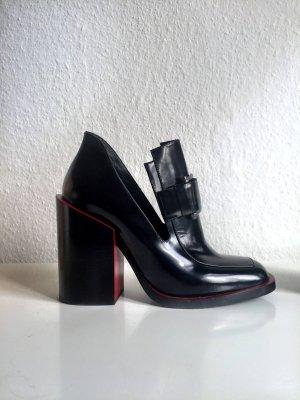Hammer JIL SANDER Loafer Pumps mit Blockabsatz - schwarz rot