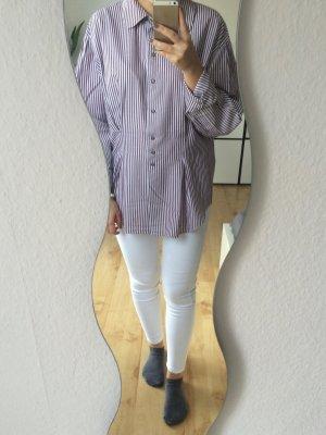 Hammerschmid Bluse oversized lila weiß gestreift
