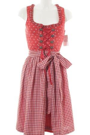 Hammerschmid Vestido Dirndl rojo-blanco estampado floral estilo country