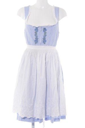 Hammerschmid Vestido Dirndl blanco-azul claro estampado a cuadros