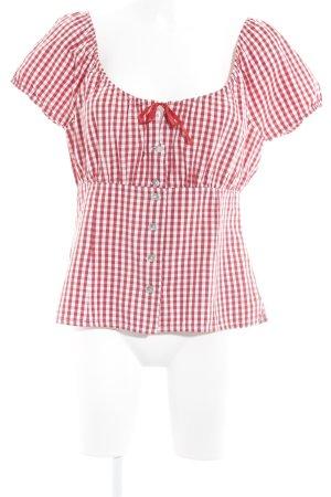Hammerschmid Folkloristische blouse rood-wit geruite print romantische stijl