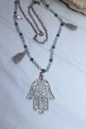 Hand der Fatima * lange Kette * Perlen * Quasten * Strass * kaum getragen *