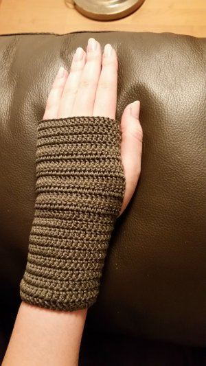 Fingerless Gloves anthracite-taupe cotton