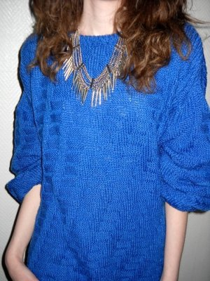 Handarbeit Diy Oversized Strick Pullover Pulli royal blau 36 38 40 42 H M L XL