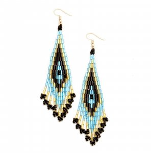 Handarbeit Ethno Hochwertige Lange Leichte Ohrringe Perlen Kristall Schwarz Gold Blau 10,5 cm