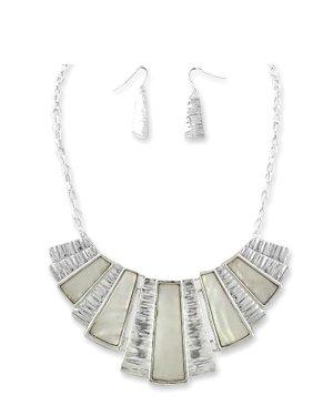 Handarbeit Luxus Set Kette Schmuckset Ohrringe Versilbert Silber Gerippt Perlmutt Muschel Nacre Abalone Weiß Ivory