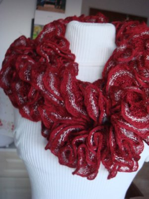 Crochet Scarf dark red-pale yellow synthetic fibre