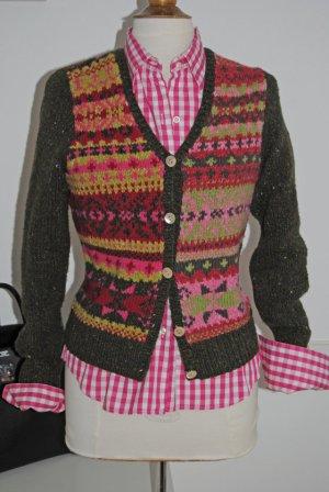 Antonia Zander Cardigan norvegese rosa-verde oliva Cachemire