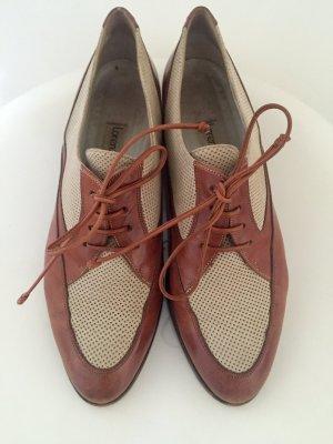 Scarpa stringata crema-marrone chiaro Pelle